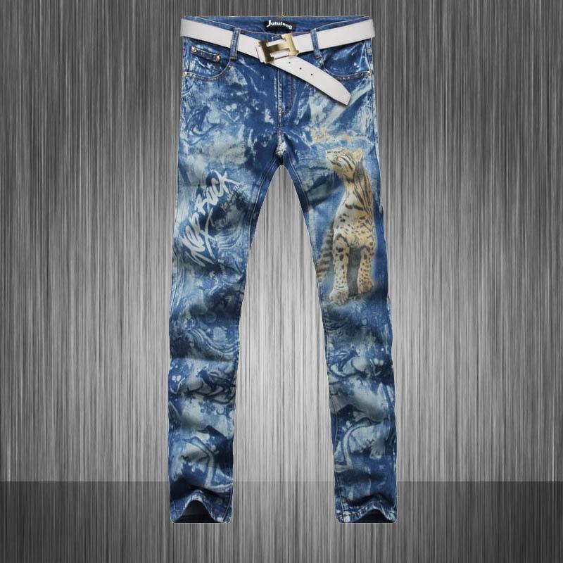 Top recommand  personality Mens brand designer Slim skinny pencil jeans tiger printing color drawing club wear MB549 Z20Îäåæäà è àêñåññóàðû<br><br>