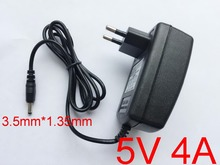 50PCS High quality 5V4A AC 100V-240V Converter Adapter DC 5V 4A 4000mA Power Supply EU Plug 3.5mm x1.35mm(China)