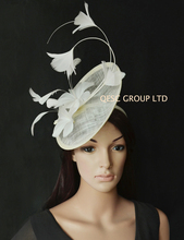 NEW Cream ivory Sinamay fascinator Hat for Races,Wedding,Kentucky derby.