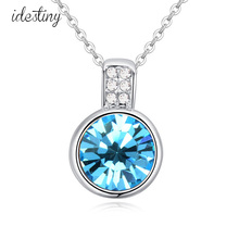 New fashion brands design jewellery wholesale for women summer style round pendant necklace with Austrian crystal