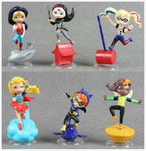 6pcs DC Super Hero Girls Batgirl  Poison Ivy Bumble Bee Harley Quinn scene Action figure Doll Toy