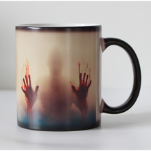 Drop shipping Black Ceramic Zombie Color Changing Coffee Mug  Heat sensitive Magic Tea cup mugs Christmans gift 110Z