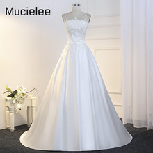 Buy Mucielee Real Illusion Neck Satin Wedding Dress Applique Bridal Gown Sheer Back France Wedding Dresses Robes De Mariage for $192.00 in AliExpress store