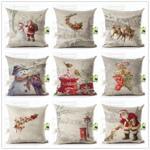 Fashion Style Christmas Print Cushion Decor Cojines Sofa Throw Pillow Printed Cotton Linen Square(China)