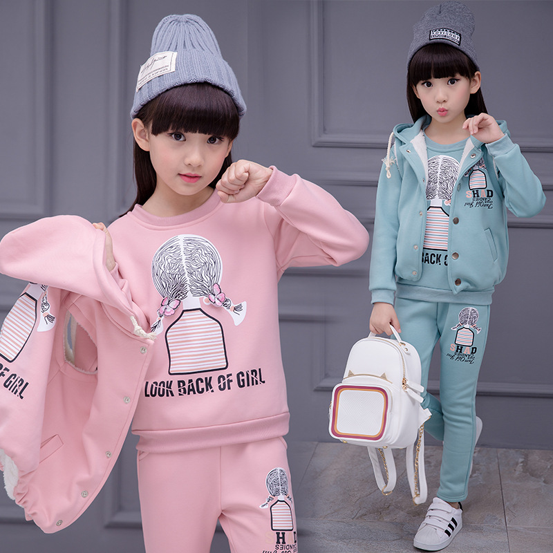 Girls Children 3pcs Sets Clothes + Vest + Pants Cartoon Printing Add Cotton Warm Comfortable Suits Kids 4- 14 Years Outwear<br>