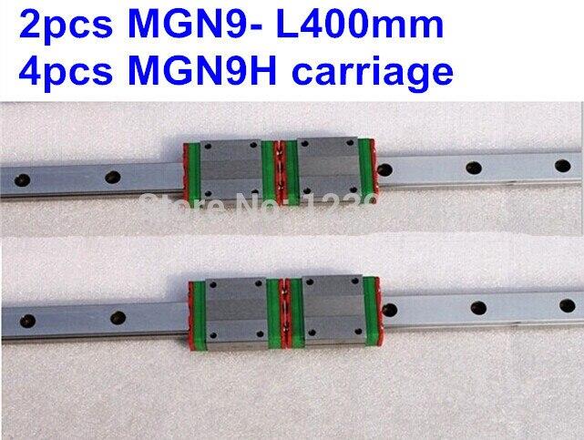 2pcs MGN9 L400mm linear rail + 4pcs MGN9H carriage<br>