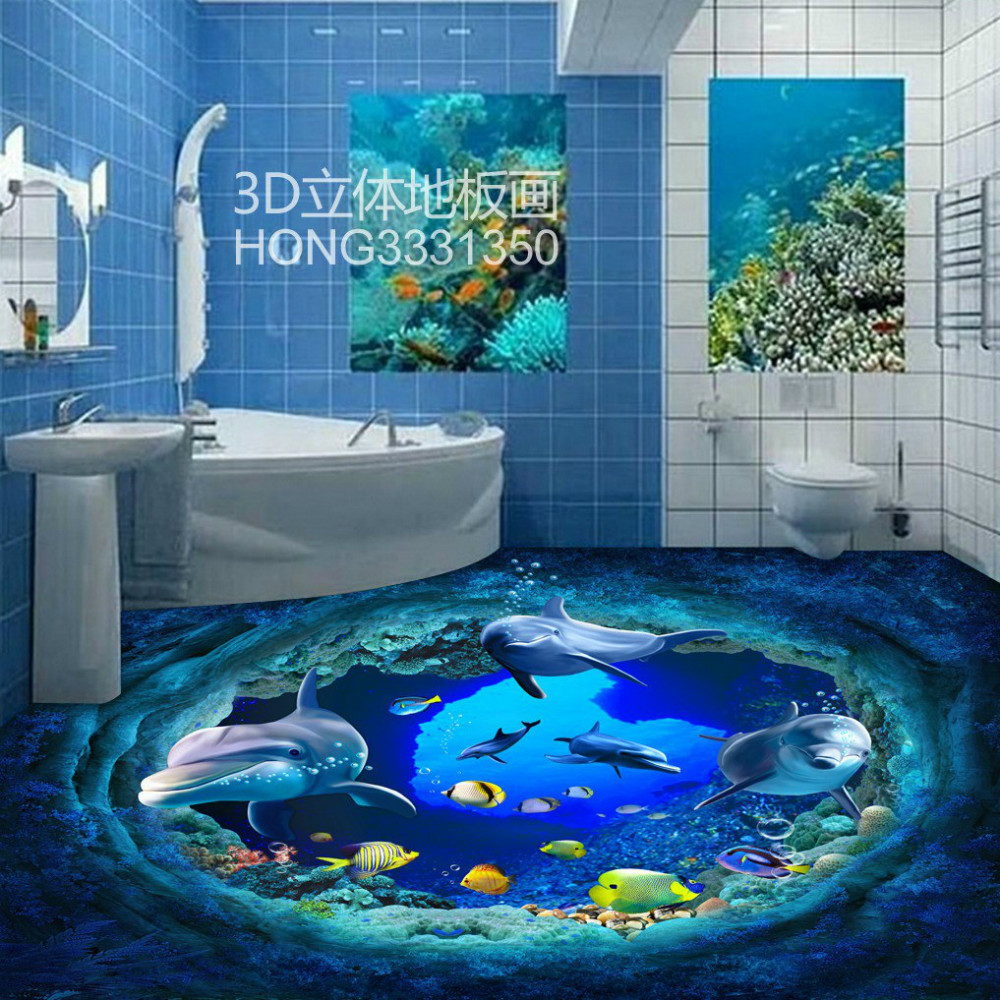 Free Shipping 3D Beautiful underwater world dolphin tiles ground painting living room floor mural<br>