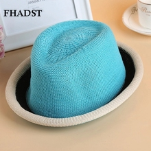 FHADST Fashion Baby Boys Hats Caps Child Sun Hat Girls Kids Soild Trilby Straw Hat Toddler Beach Hats 6 Colors Cap Fit For 2-8Y