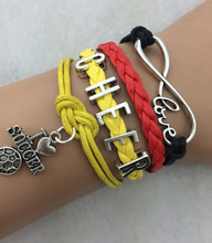 3pcs infinity Letter bracelet World Cup  Soccer  theme leather bracelet flag football bracelet braided jewerlly bracelet 3769