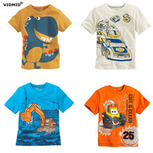 New boys t-shirt Baby Clothing Little boy Summer t shirts tees Cotton Cartoon truck dinosaur cars tops baby kids clothes fashion