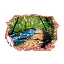 Removable Broken Wall 3D Wall Stickers Woods The Path River Flying Birds Scenery Wall Stickers Home Decoration