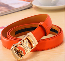 Belts for women fashion butterfly printed metal buckle strap Genuine Cowhide Leather Split Leather Belts for women Solid orange