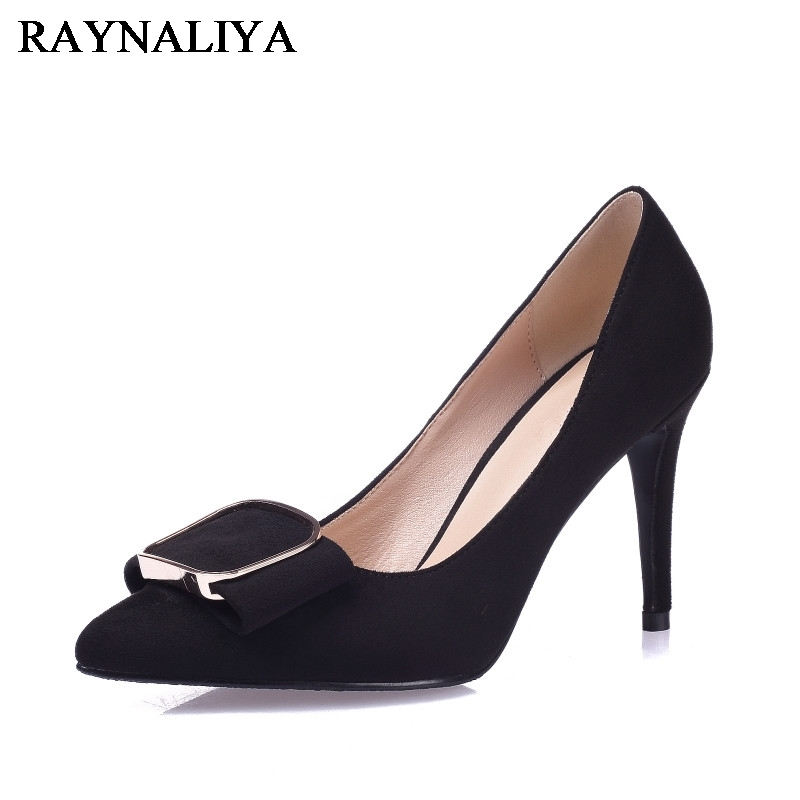 2017 Newest Women Genuine Leather Pumps With Square Buckle Thin High Heels Sexy Point Toe Wedding Shoes Solid  Colors BLY-A0024<br>
