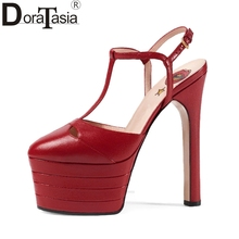 DoraTasia Large Sizes 33-42 Brand Design Summer Women Shoes Woman High Heels Platform Party Wedding Sandals Women 15 Colors(China)