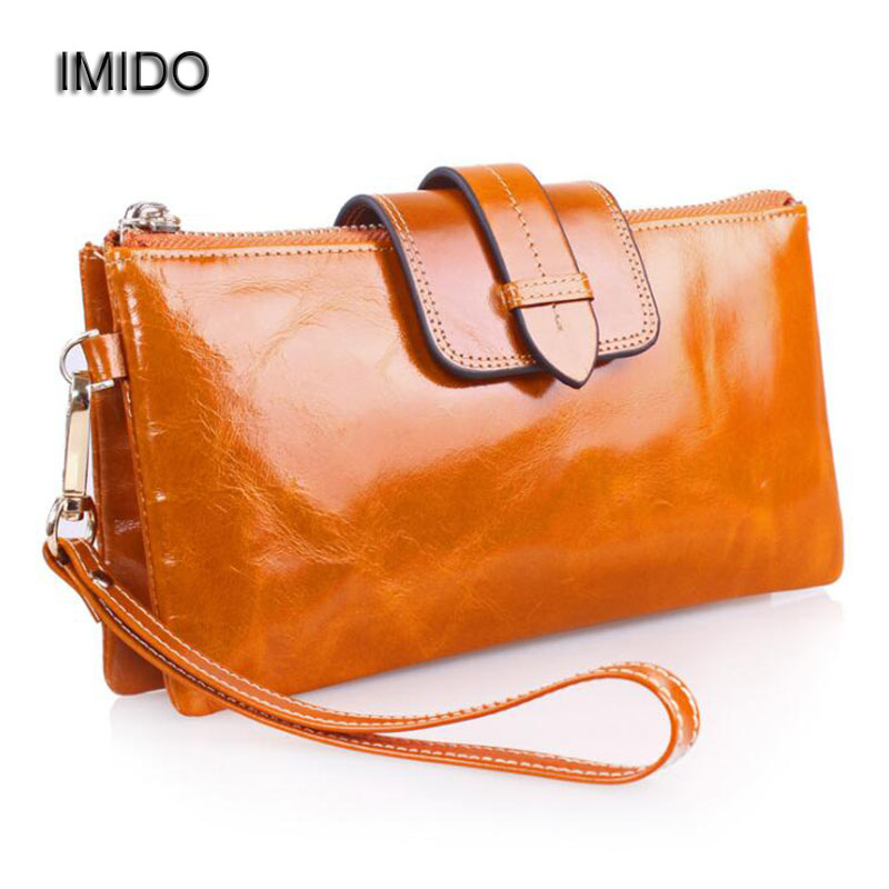 IMIDO Genuine Leather Women Bags Day Clutch with Chain Strap Messenger Bag Phone Purse Cowhide Bags for Ladies bolsas Blue WT018<br>