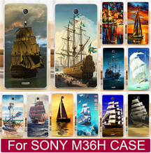 Newer Pattern Smooth Sailing Ship Pirate Ship Painting Capa Case For Sony Xperia ZR C5502 C5503 M36h Phone Case Shell Back Cover