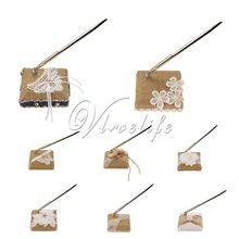 10 Styles Burlap Wedding Pen Set Decorative Lace Flowers Pen and Pen Stand Pen Holder For Rustic Wedding Decoraitons(China)