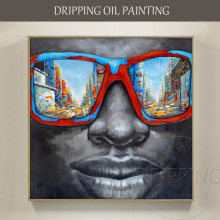 Artist Hand-painted High Quality Black Man with Sunglasses Oil Painting Abstract Black Man Portrait Oil Painting for Wall Decor(China)