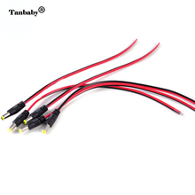 Tanbaby 5pcs 5.5*2.1mm Male/Female extension connector Cable for Power Socket Connector strip CCTV  Pigtail Camera DC 12V