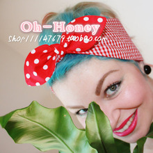 women vintage 50s red white polka dot and gingham headband hair accessories hairband bow rockabilly pinup bandana wire scarf