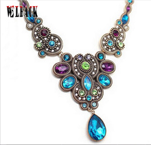 Fashion brand jewelry New design Italy Aegean necklace women colorful flashing crystal rhinestone grace short chokers necklace
