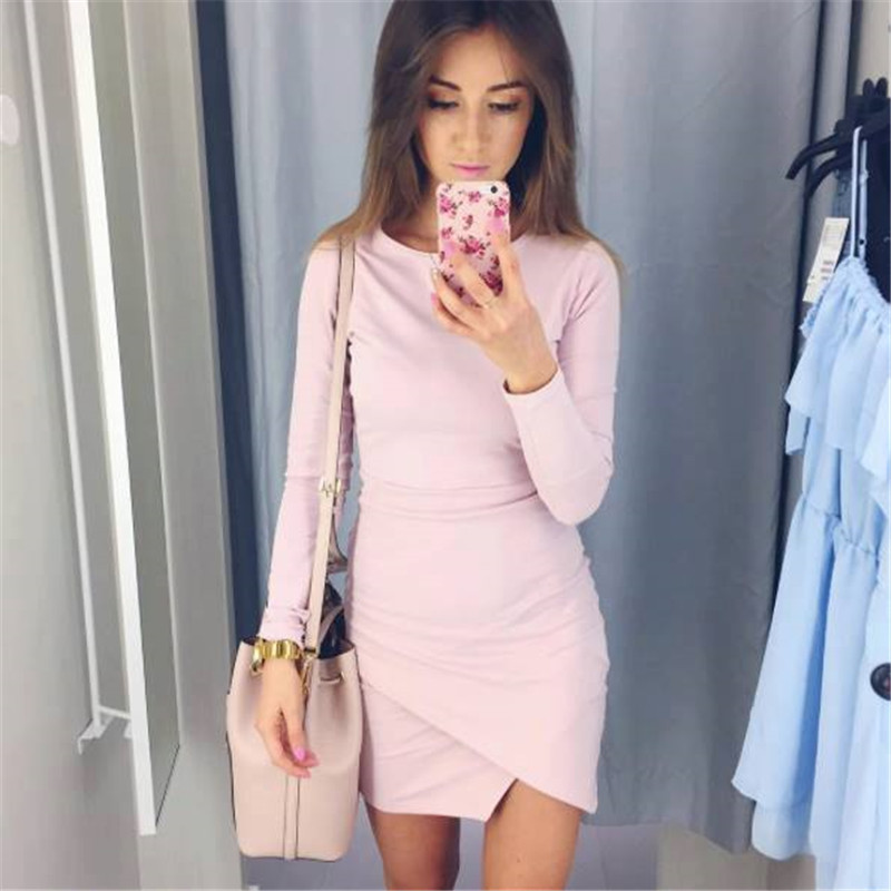 Fall 2017 Fashion Women Knitted Sexy Bodycon Culb Mini Dress Autumn Winter Casual Long Sleeve Party Dresses Plus Size FZ12