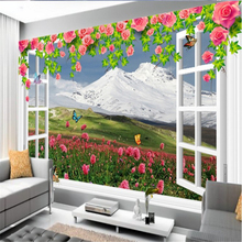 beibehang custom wallpaper vines rose white window snow mountain flowers beautiful background wall vinyl flooring adhesives