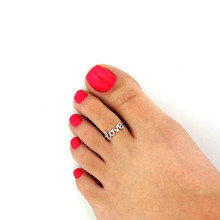 2016 Fashion Europe Style Punk Celebrity Fashion Simple Gold Silver Retro Love Toe Ring Beach Foot Jewelry