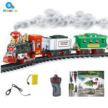 Classic RC Train Set with Smoke Realistic Sounds Light Remote Control Railway for Kids Car Toy Gifts(China)