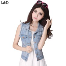 New 2017 Women Vest Spring Summer Sleeveless Plus Size Women's Jeans Denim Vest Tops For Woman Clothing Female Jacket Coat(China)