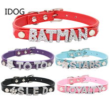DIY Pet Collar For Small Dogs PU Crystal Letter Custom Name Puppy Cat Buckle Leads Neck Strap Chihuahua Cachorro(China)