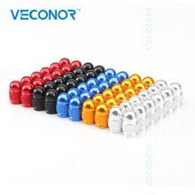 Veconor 60 pieces/lot multi colors aluminum bullet style auto car tyre valve caps motorcycle bicycle wheel tire valve cap(China)