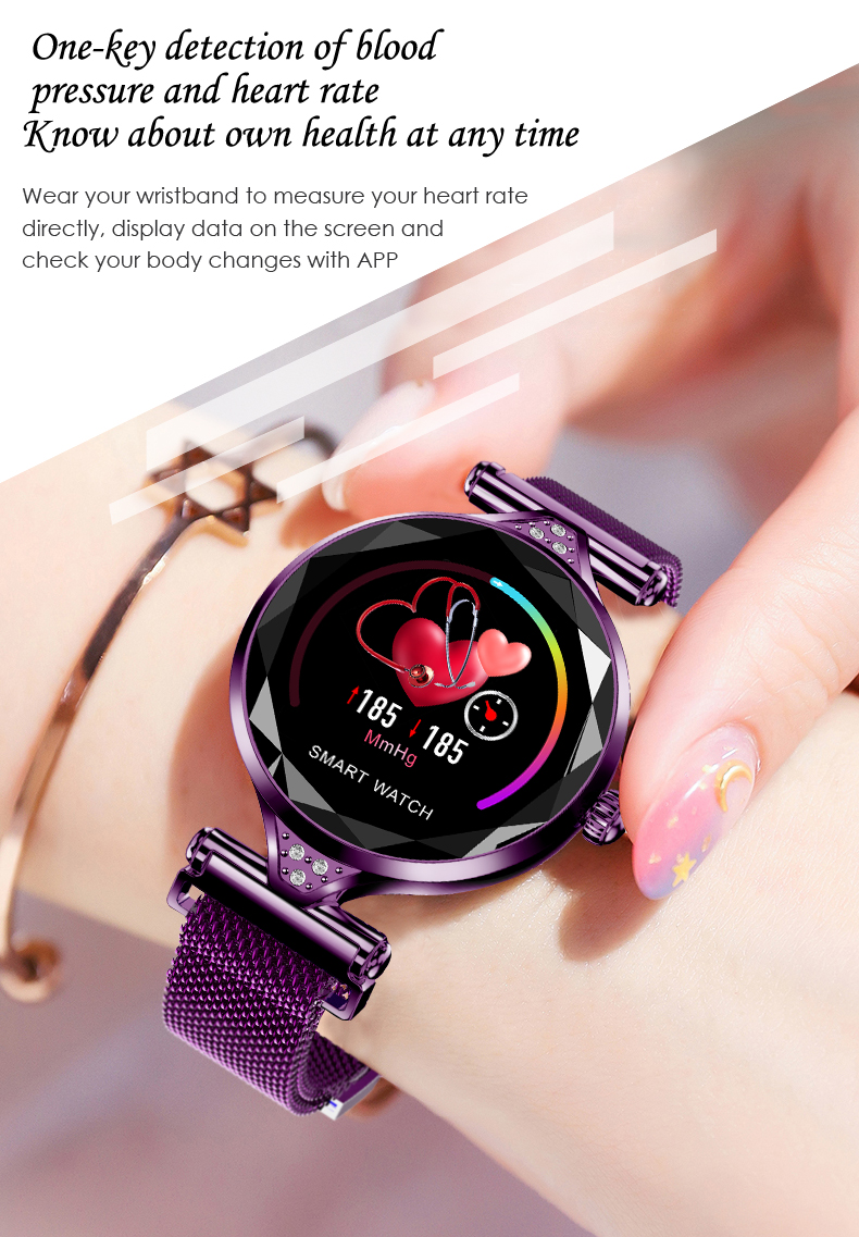 H1 Women Fashion Smartwatch Wearable Device Bluetooth Pedometer Heart Rate Monitor Smart Watch For AndroidIOS Smart Bracelet (9)