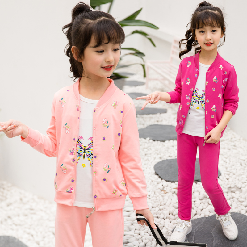 New Fashion Girl Spring Autumn Childrens Sets Flower Printed Coat+T-shirt+Pant 3 Piece Sets Sport Casual Suit Clothing Set Girl<br>