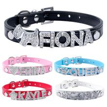 5 Colors Plain Leather Personalized Pet Dog Collars DIY Cat Names Pet with Free Name and Charm(China)