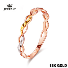 18k Gold Ring New Flower Design Fashion Hot Selling For Women Girl Miss Mother Gift Customizable Pure Real 750 Solid 2017(China)