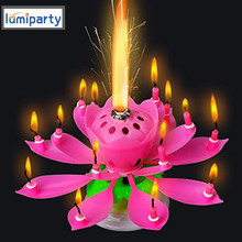 LumiParty 3pcs/lot Lotus Candle Musical Flower Candles Led Tea Light Lotus Birthday Candle Happy Birthday Rotating Lights