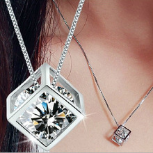 2017 Exquisite necklaces & pendants Women Pendant necklace Cube Crystal necklace Summer clothing jewelry accessory BMN6