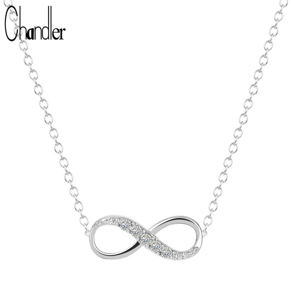 10pcs/Lot Silver Gold Plating Endless 8 Shape Pendant Necklaces For Women Infinity Forever Friendship Clear Crystal Coliers Gift