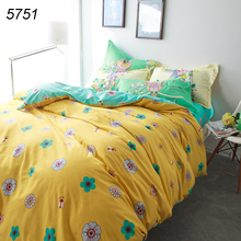 Bees flowers printing yellow bedding set housse de couette 4pcs bed clothes 100% cotton twill children parents bed sets hot 5751
