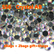Buy 4bags get 2 more!SS6 Clear white AB Crystal 1440 DMC HotFix FlatBack Rhinestones,DIY garment Hot Fix gliters crystals stones(China)