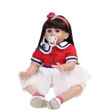 60cm Reborn Toddler Dolls   Big Girl  Soft Lifelike girl doll Toys Long Hair Wig  Real Baby Alive  bonecas