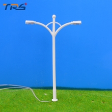 Teraysun 100Pcs Plastic Streets Lamp Model Railway Street Lighting Model Kids Toys Model making Double-heads Lamppost Model