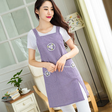 2016 New Women Apron For Hotels Coffee Restaurant Work Apron Cotton Chef Cooking Apron With Pockets Japan Style Free Shipping