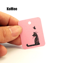 New 5000Pcs/lot 8Colors Kraft Jewelry Tag 2.6*3.3cm Cute Cat Design HangTags Rectangle Shape Paper Jewelry Card Price Tag Label