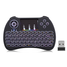 Zeepin H9 2.4Ghz Wireless Mini QWERTY Keyboard Touchpad Air mouse with Backlight and Li Battery for TV BOX Mini PC(China)