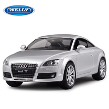 WELLY 1:24 Audi TT Alloy Diecast Car Model Pull Back Toy Car model Electronic Car with Kids Toys Gift free shipping