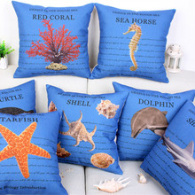 Fashion High Quality Cotton Linen Underwater World Marine Life Car Decorative Throw Pillow Case Cushion Cover Sofa Home Decor