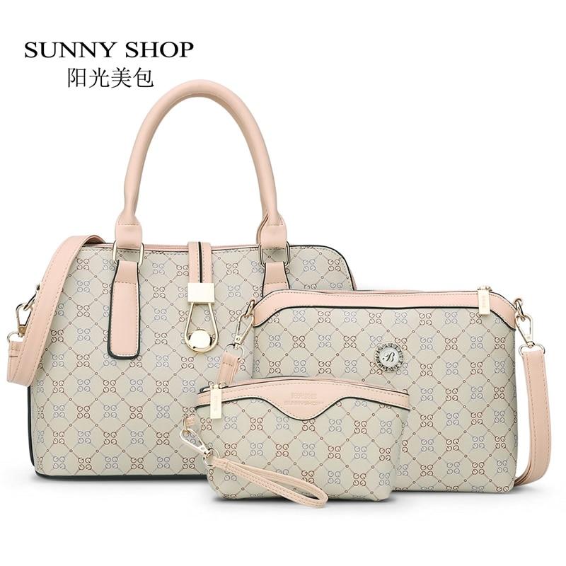 SUNNY SHOP3 Bag/Set New Mother Handbag Brand Designer Women Bag Letter Striped Fashion Femal Bags Shoulder Bags Gift For Mother<br>
