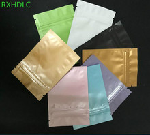 Matte Green/White/Black Aluminum Foil Plastic Ziplock Pack Bag Flat Moisture-proof Zipper Package With Tear Notch for tea snacks(China)